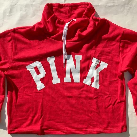Victoria\u2019s Secret PINK Cowl Neck Crop Red Sweater NWT